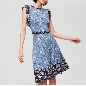 LOFT Mixed Print Flutter Dress in Dove Blue
